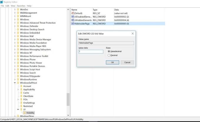 Ako odstrániť ponuku Windows Insider Program z Nastavení