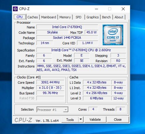Lenovo IdeaPad y900 cpuZ